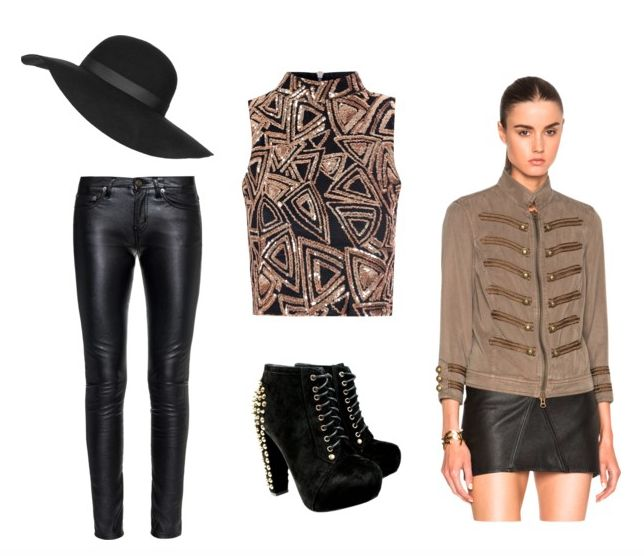 Style a Prince outfit with a band jacket, sequin top, leather pants and a floppy brim hat.