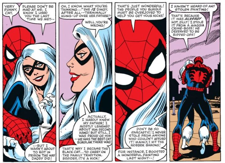 Spider-Man and Black Cat share a cuddle in Amazing Spider-Man #226