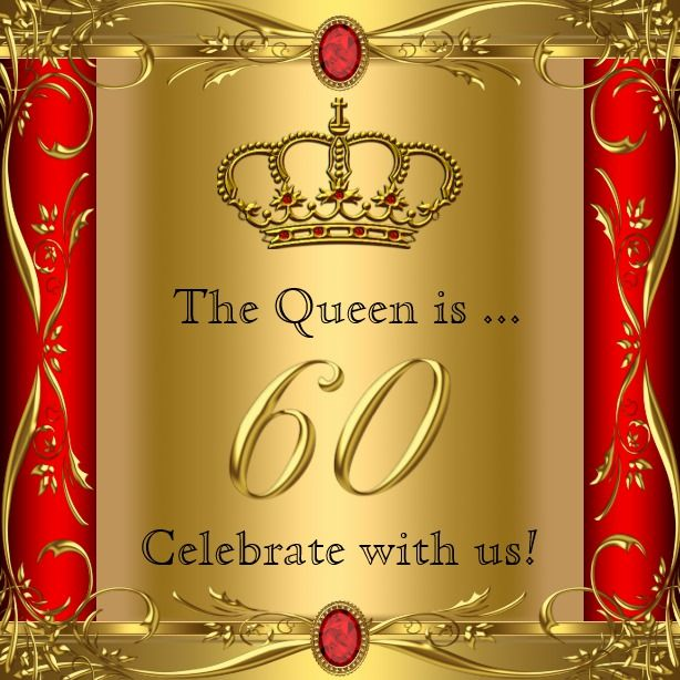 Queen Or King Regal Red Gold 60th Birthday Party Card With Images