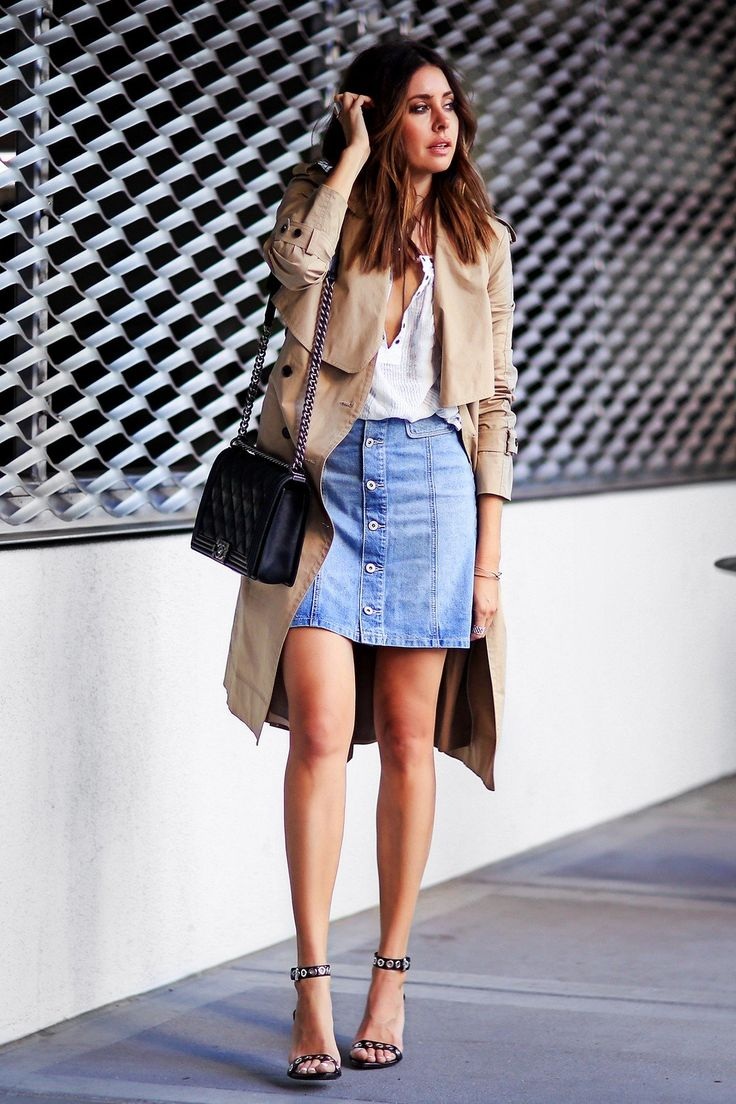 Erica Hoida Has Created A Gorgeous Spring Style Here Pairing Clic Beige Trench With On Front Denim Skirt And Y Plunge Neck Tee Wear This