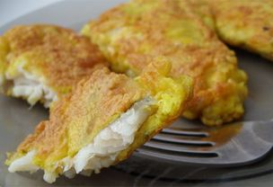Fish batter with cheese:  3 eggs 2 tablespoons flour 150g cheese (finely shredded) salt Extremely delicious. Cheese melts and coats the fish during frying.