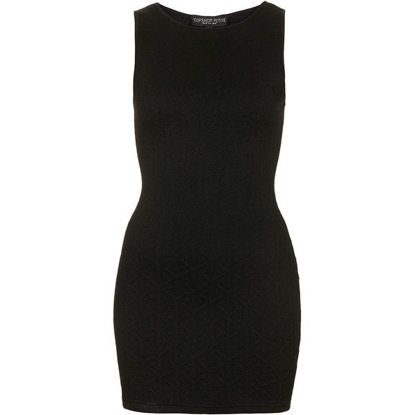 TOPSHOP Petite Exclusive Quilted Bodycon Dress (895 UYU) ❤ liked on Polyvore featuring dresses, black, petite, topshop, petite dresses, bodycon dress, body con dress and petite black dress