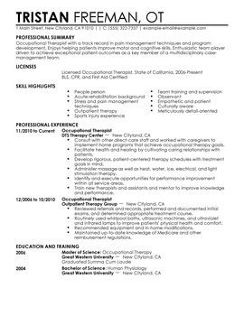 occupational therapist - Physical Therapy Resume