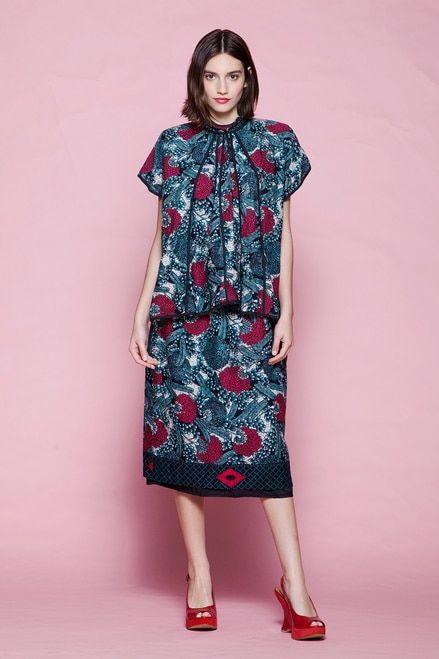 afc21324c9e batik cotton skirt set floral print paneled top red blue vintage 80s SMALL S