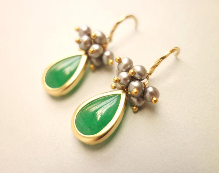 Grüner Achat, Perlen & Gold 925 Silber Ohrhänger von SCHMUCK. by felicitas mayer auf DaWanda.com