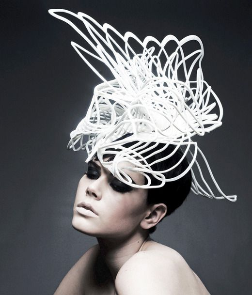 Sculptural Fashion - 3D architectural headpiece; wearable art; couture millinery // Emma Yeo
