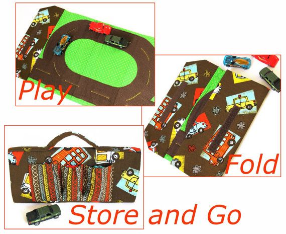 Sew A Toy Car Holder : Toy car track and tote play mat immediate download of pdf