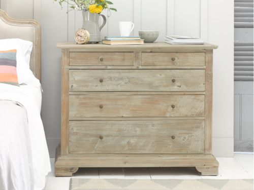 Dandie is a hand carved seriously cool chest of drawers. It is made from reclaimed fir with a beached timber finish and vintage-y bronze knobs. Lovely!