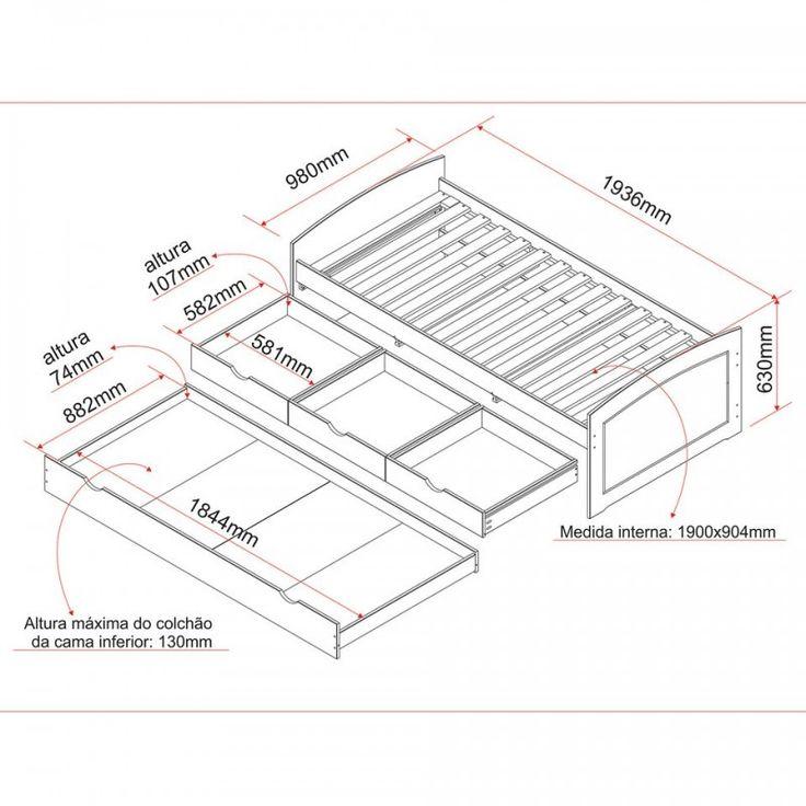 medidas de cama de solteiro com auxiliar e gavetas - Pesquisa Google