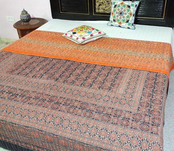 Ajrakh Kanth Quilt Queen size Block Print by maharajacraftbazar