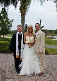Rosen Shingle Creek Resort Venue In Orlando Florida The Bride And Groom With Rev Glynn Ferguson At Gatlin Terrace Location After Wedding Ceremony