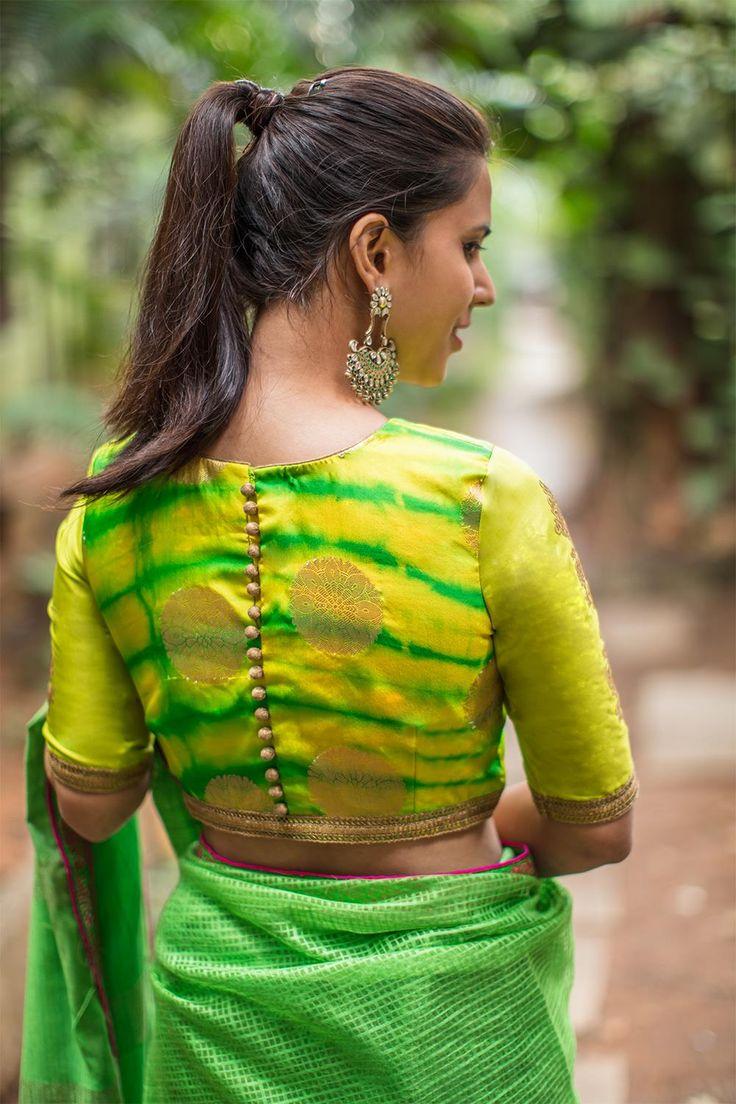 House Of Blouse Lime Green gold Shibori brocade blouse