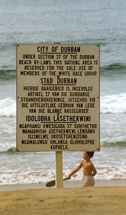 Apartheid sign on Durban beach