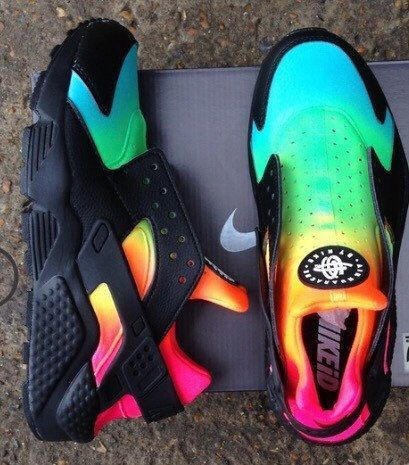 womens nike air huarache black with colorful rainbow style shoes
