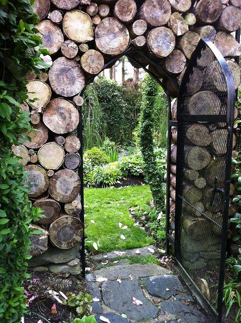 Wood pile wall and gateway at Sakonnet Garden, Rhode Island.