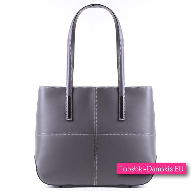 Włoska torebka z szarej skóry naturalnej, mieści format A4, grafitowe ozdoby metalowe, wnętrze z przegrodą. Zobacz inne zdjęcia: Kliknij http://torebki-damskie.eu/szare/1404-szara-skorzana-torebka-a4-na-ramie.html