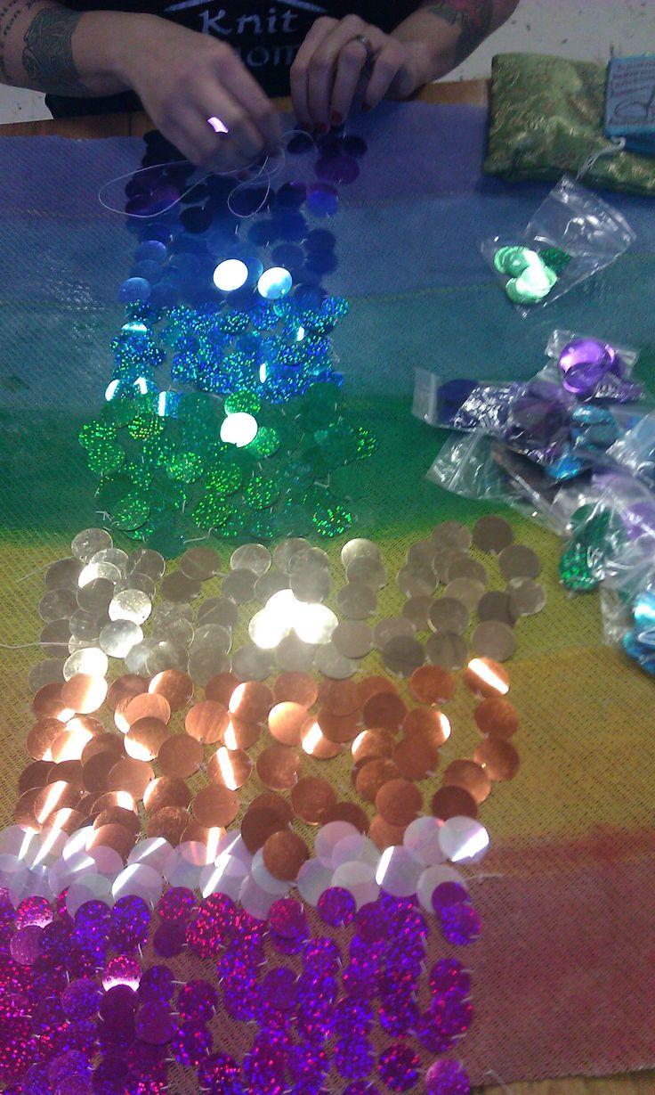 Making of sequine rainbow for Helsinki Burlesque Festival 2012