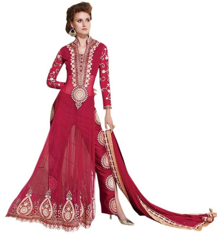 Net Machine Work Red Unstitched Pant Style Suit - 1B111