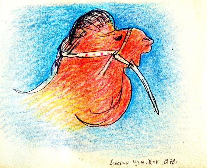 """Victor Shmokhin. """"Верблюд"""" 1979г. Бумага /Фломастер, Цветной карандаш 8,5х11 (№4,026)"""