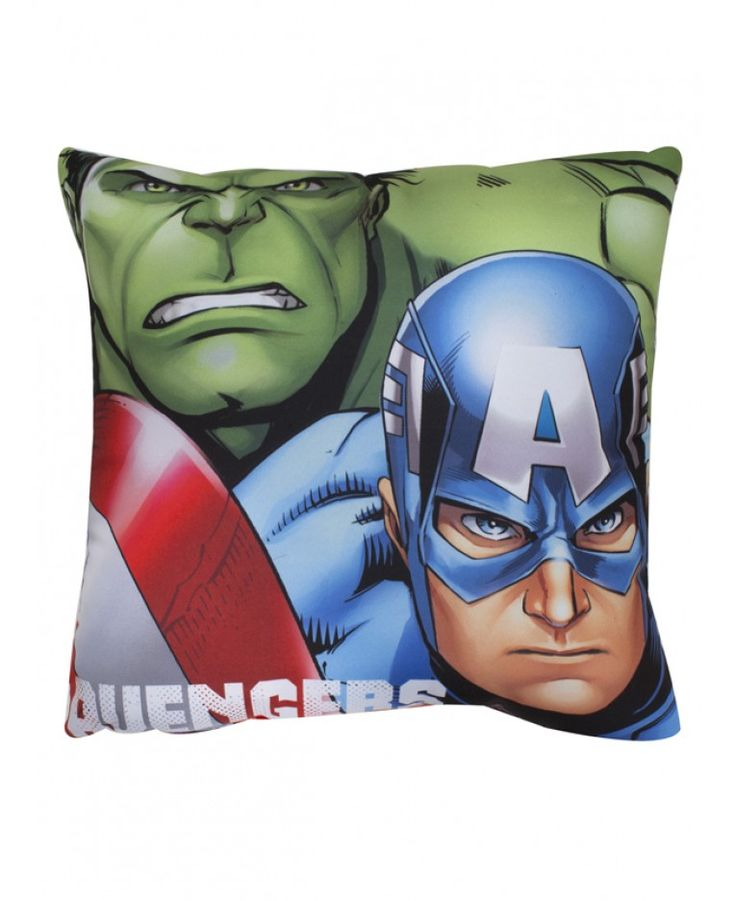 This Marvel Avengers Shield Cushion features Hulk and Captain America on one side and Iron Man and Thor on the other.
