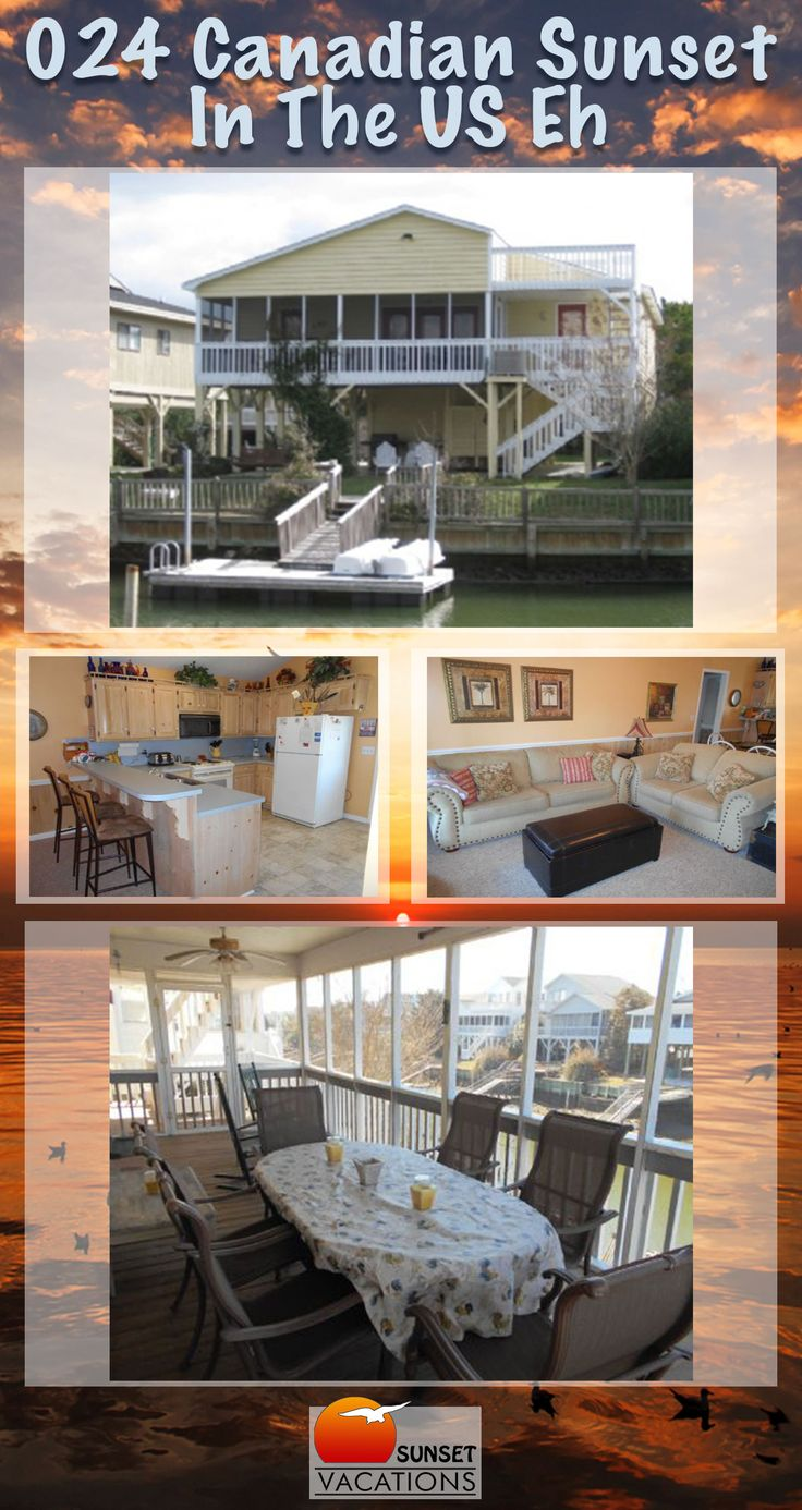 This 4 bedroom canal-front home has everything a vacationing fisherman could ask for. Outdoor amenities include: fish sink, screen porch, sun deck, covered porch & floating boat dock. Book your Canadian Sunset beach vacation today!