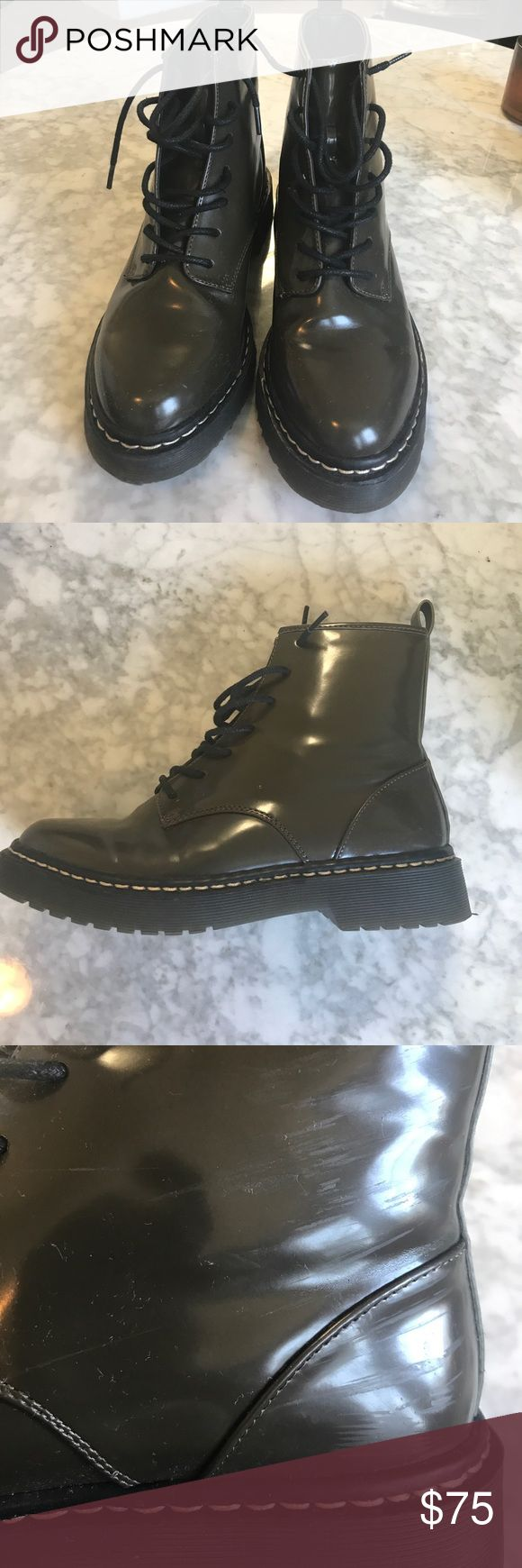 Zara combat doc marten boots Zara olive green combat boots in patent leather. Slight scuff on the inside of each heel but I've only worn once as part of a costume so like near new condition. Looking to sell so make me an offer 🤗 Zara Shoes Combat & Moto Boots