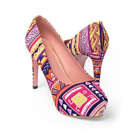 3e309546fa7f3 Colorful Tribal African Print Ankara Womens Platform Heels.These pl ...