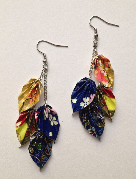 Colorful Floral Origami MultiLeaf Chain by folditcreations on Etsy, $25.00