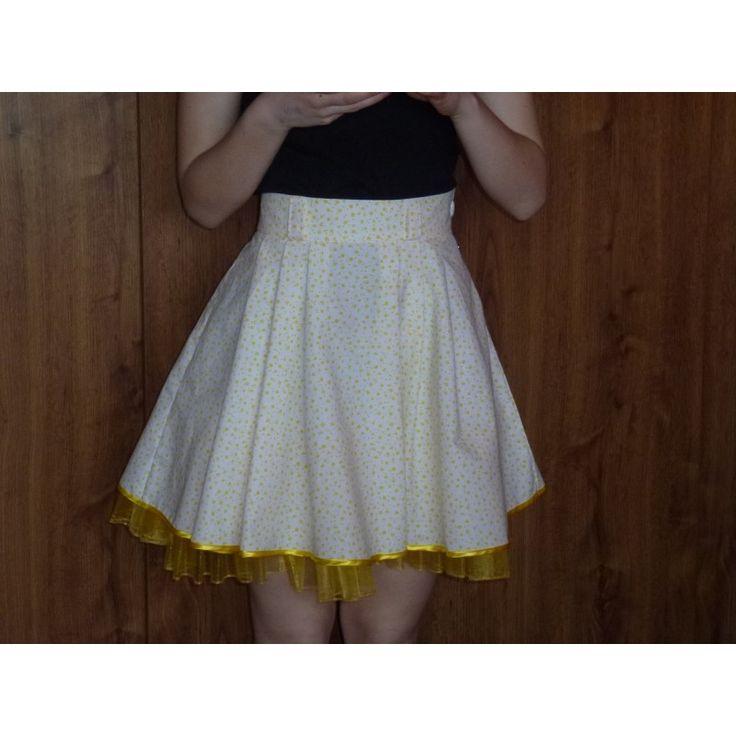 Sukně Retro bílá, žluté kytičky, spodnička s kanýrem - Švadlenka Splněný Sen