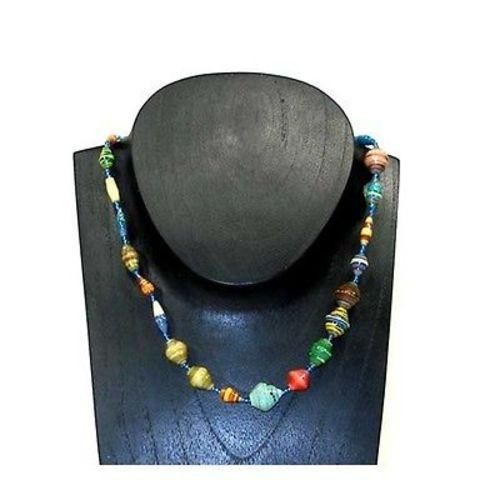 Glossy Recycled Paper Necklace with multiple color beads charms made by Kenyan Artisans