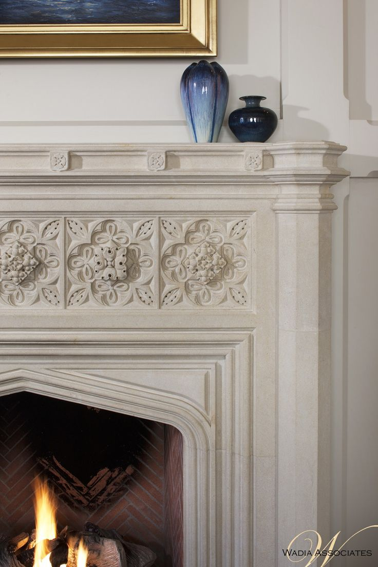 Wadia Associates does a architectural + interior detailing up close and personal on this fireplace in an Elizabethan Manor House   by Wadia Associates