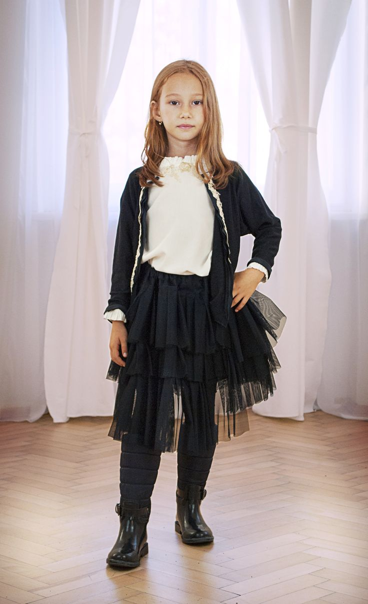 Designers for kids style from fall collection designed by Rhea Costa, tutu and cardigan for girls fashion outfits