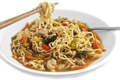 (NEW Recipe) Skinny Asian Chicken and Noodle Bowl. It's loaded with chicken, ramen noodles, assorted veggies and fantastic! Each large serving has 240 calories, 6g fat and 6 Weight Watchers POINTS PLUS. http://www.skinnykitchen.com/recipes/skinny-asian-chicken-and-noodle-bowl/