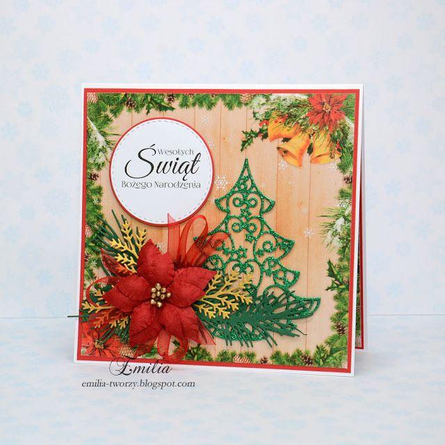 Emilia tworzy: Kartka na Boże Narodzenie z zieloną choinką/Christmas card/Xmas