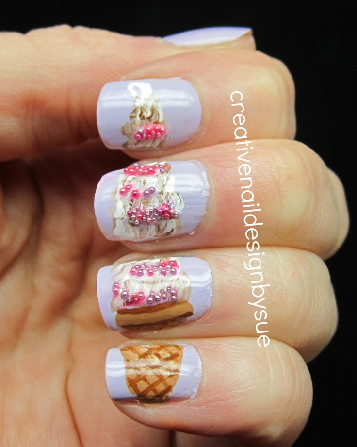 Creative Nail Design by Sue: Summer Challenge-Ice Cream. Now I want ice cream.