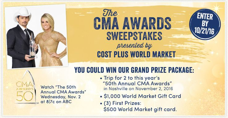 Win a Trip for 2 to the CMA Awards in Nashville & a $1,000 World Market GC! 3 First Prizes get a $500 World Market GC (10/21) #giveaway #sweeps #win http://time4giveaways.com/2016/10/20/win-a-trip-for-2-to-the-cma-awards-in-nashville-a-1000-world-market-gc-3-first-prizes-get-a-500-world-market-gc-1021-us-giveaway-sweeps-win/