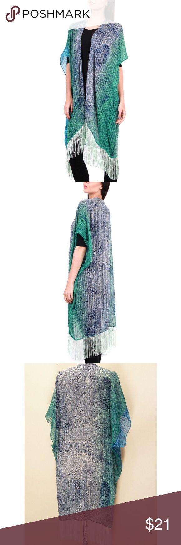 Teal Oversize Paisley Print Kimono Vest Material : 50% Cotton 50% Viscose Swim Coverups