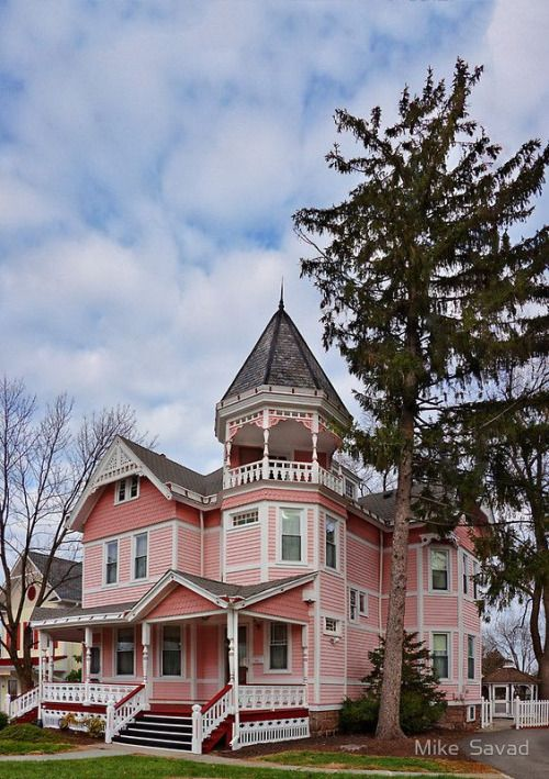 The Pink Lady of Flemington NJ.  I adore the turret/gazebo/balcony.  Two tones of rose are nice with white and gray; an additional color or two would be even better.