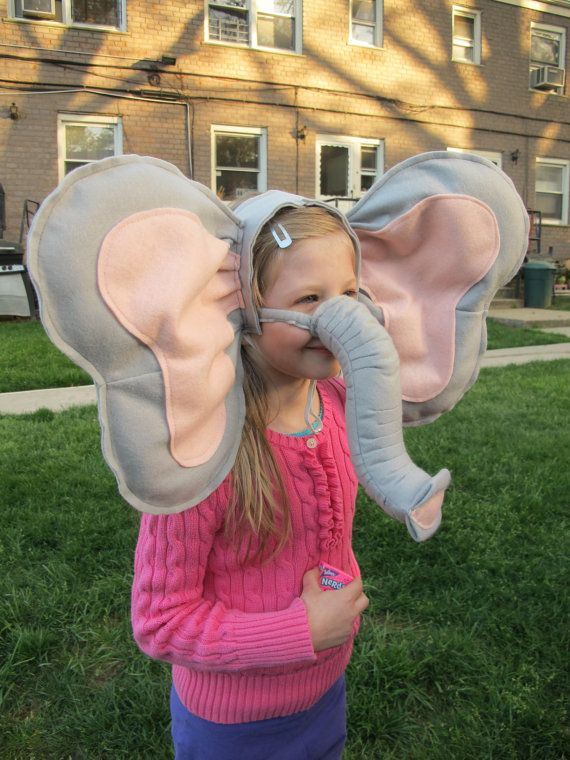 HAHA! Hand Made Elephant Ears and Trunk Childrens Costume for Theater and Halloween
