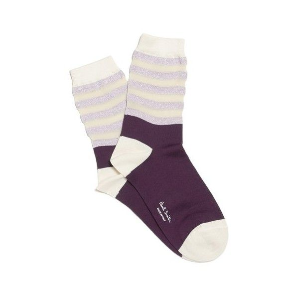 Paul Smith Accessories Women's Stripe Socks - Deep Plum ($16) ❤ liked on Polyvore featuring intimates, hosiery, socks, paul smith, metallic socks, cuff socks, paul smith socks and striped socks
