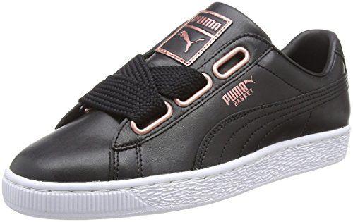 Puma Basket Heart Leather Wn's Sneakers Basses Femme Noir