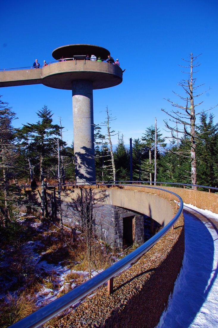 Clingmans Dome observation tower in the #GreatSmokyMountains. Smokies Guide: http://www.romanticasheville.com/greatsmokymountains.htm