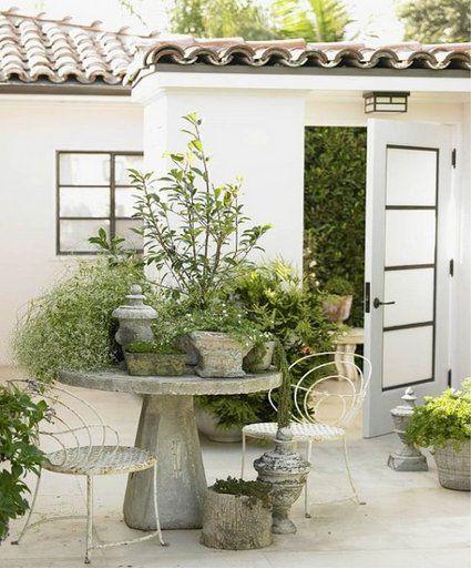 Stone table container garden