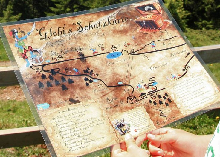 Globi's Treasure Hunt is a theme trail in the Engelberg mountains, with 11 treasure chests hidden along the path. Children use the contents of the chests to solve a puzzle