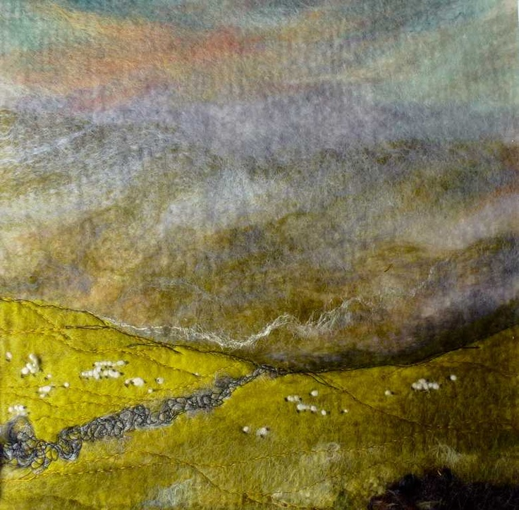 Lakeland Mists SOLD  -  Threlfalls Art Studio | Silk Paintings | Felt Paintings | Acrylics | Caren and Pete | Country, Town and Seascapes | Workshops |