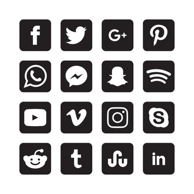 Black And White Square Social Media Icons Social Icons Black Icons Media Icons Png And Vector With Transparent Background For Free Download Black And White Instagram Social Media Icons Vector Social