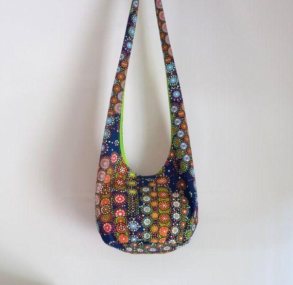 All Circles Hobo Bag Hipster Bag Navy Blue Neon by 2LeftHandz, $25.00: Hipster Bag