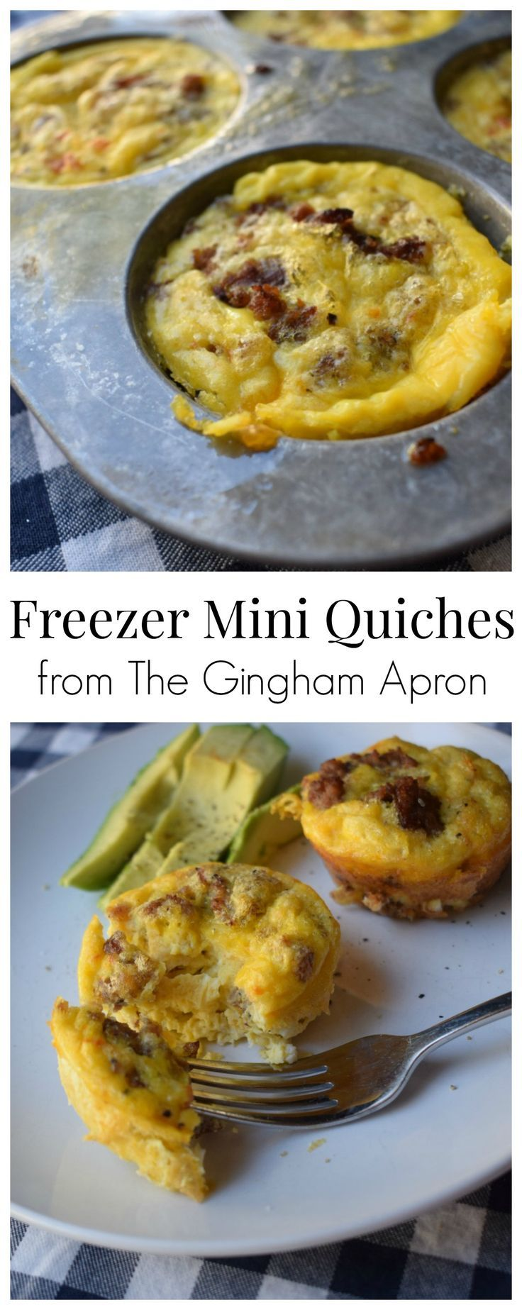 Freezer Mini Quiches- Make a big batch of these protein packed, healthy quiches, stick them in the freezer, and just warm them for a quick and healthy breakfast. #freezermeal #eggs #brunch #easy