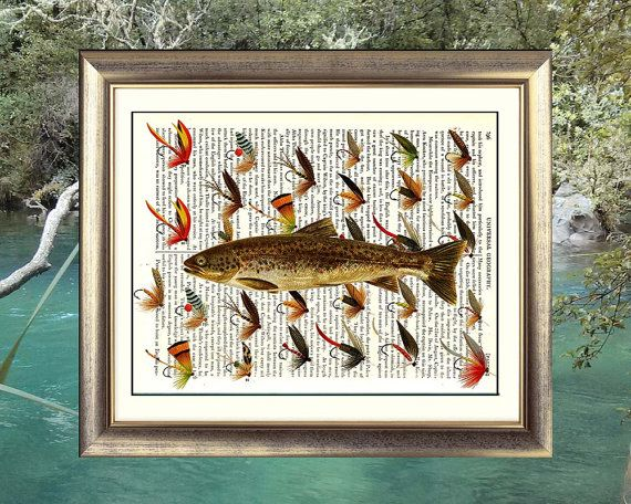 Trout with Trout Fishing Flies. Art print on by VintageTextArt, $10.00