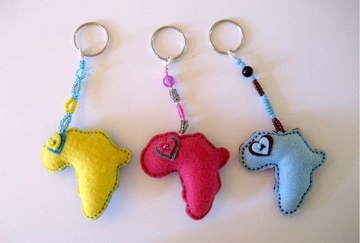 Africa key chain favors- wedding favors hand-sewn in South Africa